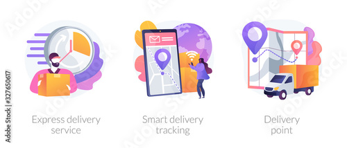 Obraz Parcel shipment services metaphors. Express delivering, online smart tracking, courier. Order delivery point. Cargo truck location. Courier with box abstract concept vector illustration set. - fototapety do salonu