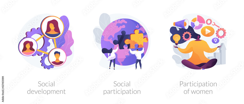 Fototapeta Social engagement metaphors. Participation in society, community involvement, social group. Participation of women. Norms of behaviour abstract concept vector illustration set.