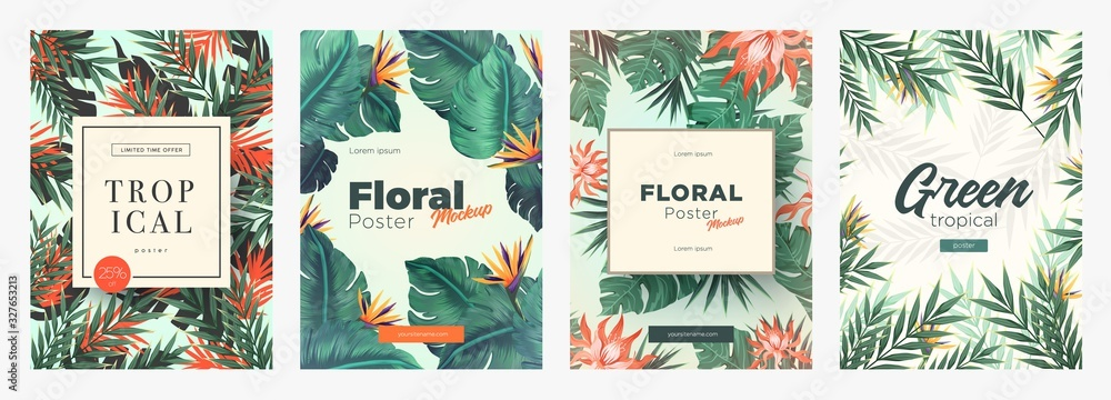 Fototapeta Set of Bright tropical backgrounds with jungle plants. Exotic patterns with tropical leaves