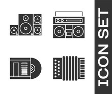 Set Musical Instrument Accordion, Stereo Speaker, Vinyl Disk And Home Stereo With Two Speakers Icon. Vector