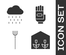 Set Home Greenhouse And Plants, Cloud With Rain, Garden Pitchfork And Garden Gloves Icon. Vector