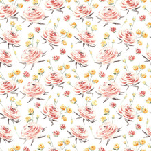Watercolor Flowers Seamless Pa...