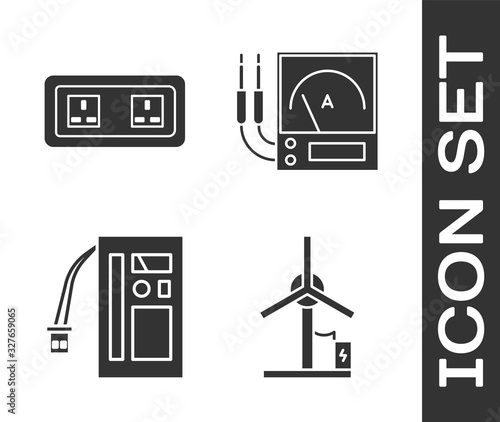 Photo Set Wind turbine, Electrical outlet, Battery and Ampere meter, multimeter, voltmeter icon