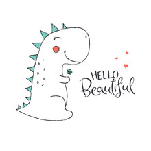 Cute Dinosaur In Love. Vector ...