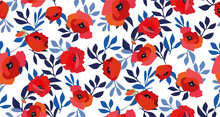 Seamless Pattern With Red Poppy Flowers And Blue Leaves On White Background. Elegant Vintage Design. Ethnic Print. Vector.