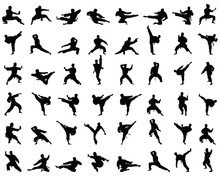 Black Karate Silhouettes On Th...