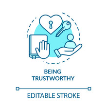Being Trustworthy Concept Icon. People Secrets Keeping. Being Loyal, Dependable And Faithful Idea Thin Line Illustration. Vector Isolated Outline RGB Color Drawing. Editable Stroke