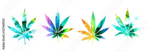 Vászonkép set Cannabis or marijuana leaf multi-colored icon , mixed media