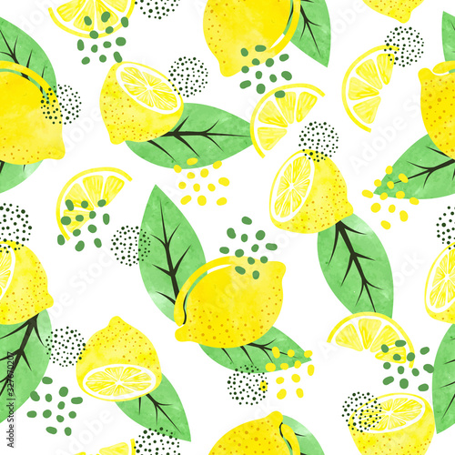 Seamless watercolor lemon pattern with fruits and leaves.