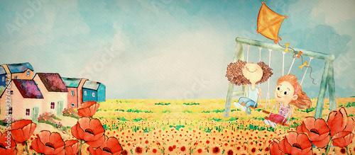 Obraz Playing girls. Watercolor background fo children - fototapety do salonu