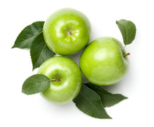 Green Apples Isolated On White...