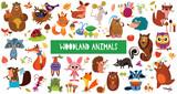 Fototapeta Fototapety na ścianę do pokoju dziecięcego - Big collection of cute cartoon forest animals. Set of woodland animals characters isolated on white background.