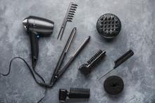 Modern Hairdresser Tools On Grey Background