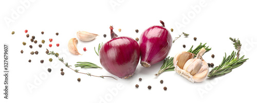 Leinwand Poster Fresh raw onion and spices on white background