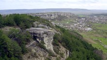 Flying Over A Beautiful High Rocky Plateau. Natural Education. Aerial Shots