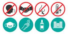 Set Of Prohibiting Icons. No Cough, No Handshake, No Runny Nose, No Fever. Set Of Medical Mask, Hand Washing, Nose Spray, Hospital