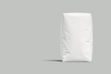 White Bag Or Sack Isolated On Light Background. Mockup For Design. 3d Render