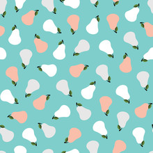 Turquoise Vintage Vector Pattern With Small Pears