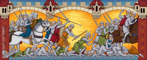 Obraz na plátně Medieval battle