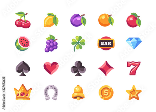 Fotomural Classic slot machine symbol collection. Casino flat icons
