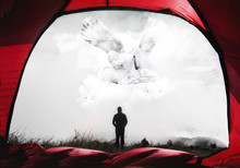 Abstract 3d Illustration Of A Man In His Tent Watching A White Unicorn