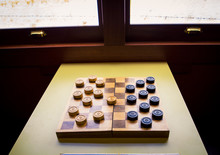 Wooden Checkers And Board
