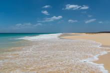 Sandy Beach Of Santa Monica In Boa Vista, Cape Verde Under The Blue Sky