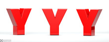 Letter Y Of Red Color In 3 Pos...