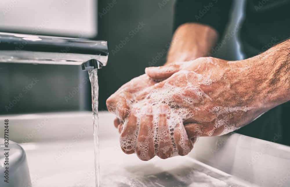 Fototapeta Coronavirus pandemic prevention wash hands with soap warm water and , rubbing nails and fingers washing frequently or using hand sanitizer gel.