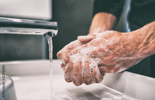Obraz Coronavirus pandemic prevention wash hands with soap warm water and , rubbing nails and fingers washing frequently or using hand sanitizer gel. - fototapety do salonu