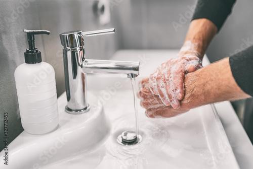 Obraz Washing hands rubbing with soap man for corona virus prevention, hygiene to stop spreading coronavirus. - fototapety do salonu