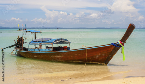 Taxi Boat on a Phi Phi Island Beach Wallpaper Mural