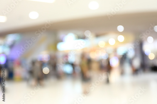 abstract image blur background of people lifestyle in modern shopping mall Canvas Print
