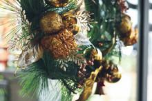 Christmas Wreath Hanging On Fr...