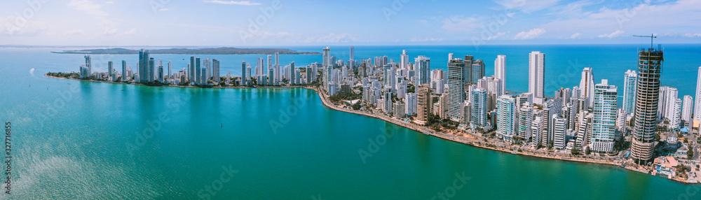 Fototapeta Aerial view of Cartagena Bocagrande