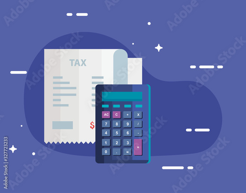 Fotografia tax day with calculator and voucher paper vector illustration design