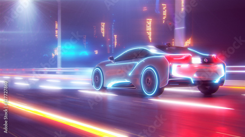 Cuadros en Lienzo Future car going on the road 3d illustration
