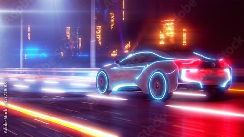 Plakaty motoryzacja   future-car-going-on-the-road-3d-illustration