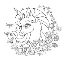 Cute Magic Unicorn Surrounded With Flowers And Butterflies. Coloring Page Vector Illustration.