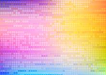 虹色の四角ドットのデ...