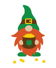 Vector Illustration Of St. Patrick's Day Gnome Holding A Pot Of Gold.