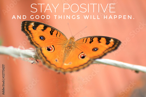 Fotografía Inspirational quote - Stay positive, and good things will happen
