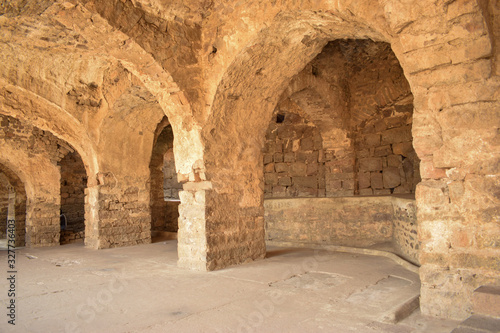 Photo Old Historical Golconda Fort Corridor in India Background stock photograph