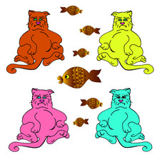 Vector Illustration Angry Well-fed Cats Are Sitting.isolation On The White Background.multi-colored Pink, Blue,yellow, Redhead Pets With A Heart,gold Fish On Their Stomach.fat Cartoon Pet Eating Fish.