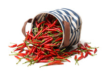 Red Chili Peppers On White Bac...