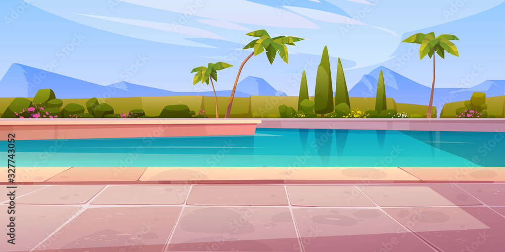 Fototapeta Swimming pool in hotel or resort outdoors, empty poolside with blue water, palm trees, green plant fencing and tiled floor on mountain landscape background. Exotic island cartoon vector illustration
