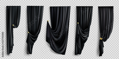 Black window curtains set, folded cloth for interior decoration isolated on transparent background Canvas Print