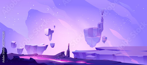 Fototapeta Space background with landscape of alien planet with craters and lighted crack. Vector cartoon fantasy illustration of purple galaxy sky with stars and ground surface with rocks obraz