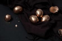 Top View Golden Easter Eggs An...