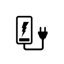 Phone Battery Charging Icon, Recharge Symbol, Energy Sign